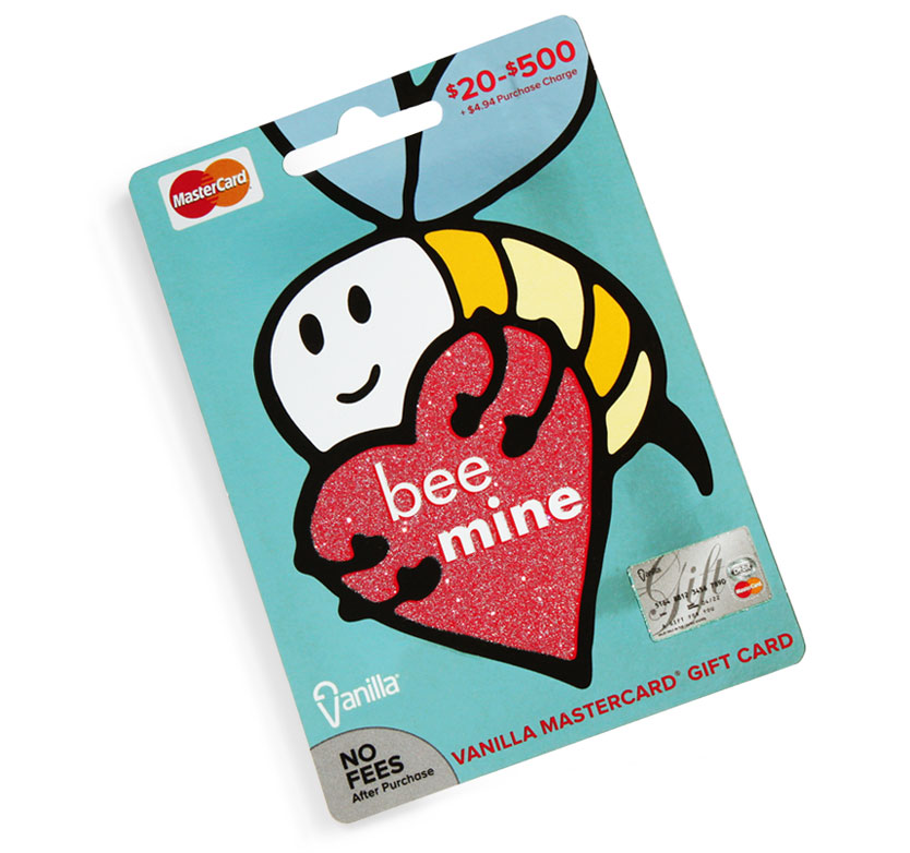 InComm, VanillaGift, spring gift card series by Annatto Valentine's Day gift card Bee Mine