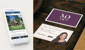 Mason Diasio logo, business cards, and social graphics created by Annatto.