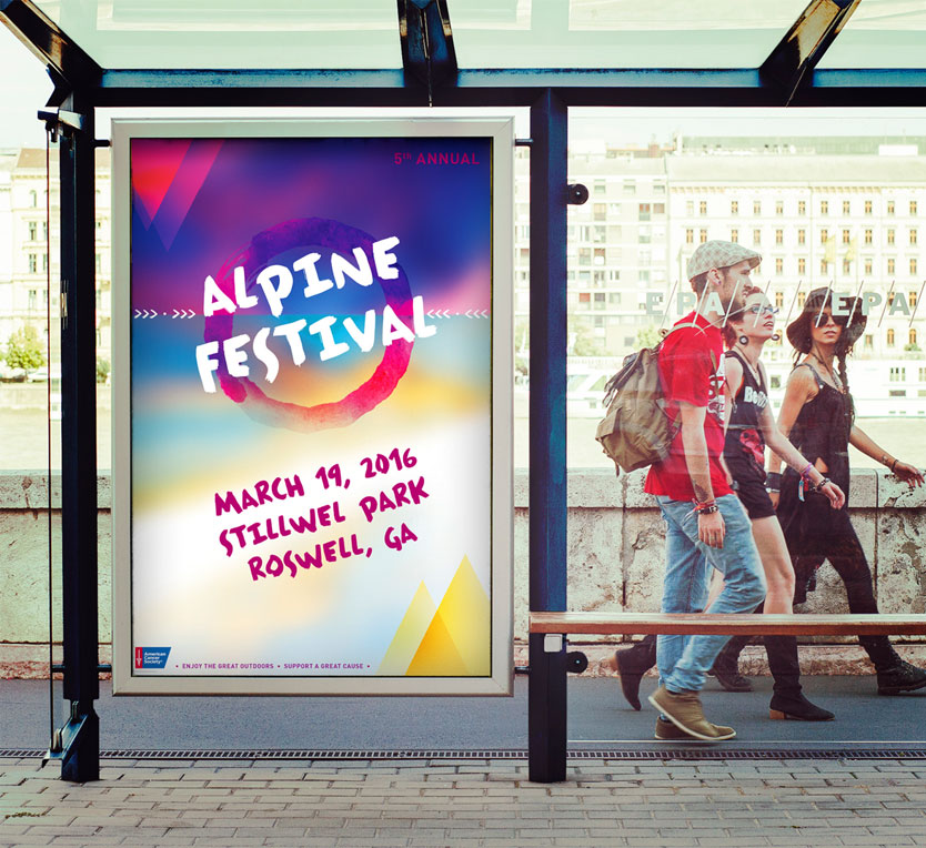 American Cancer Society event branding by Annatto Alpine Festival Poster