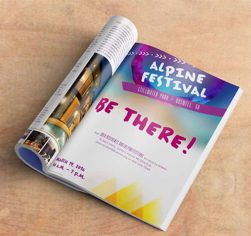 American Cancer Society event branding by Annatto Alpine Festival magazine ad