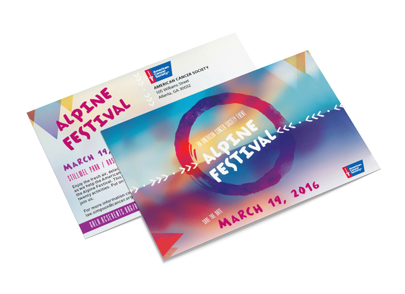 American Cancer Society event branding by Annatto Alpine Festival save the date