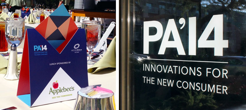 Partner Alliance 2014 event branding by Annatto Table Tent and Window Cling
