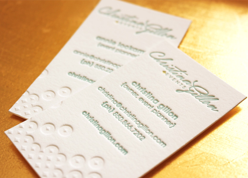 Christina Gillon Events branding and business card design.