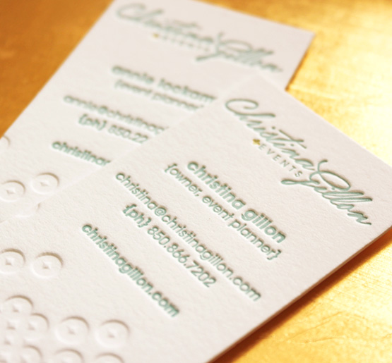 Christina Gillon Events branding, business card design.