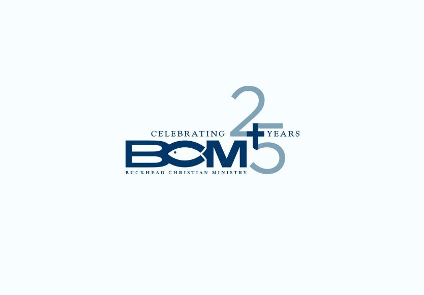 Buckhead Christian Ministry 25th Anniversary Logo.