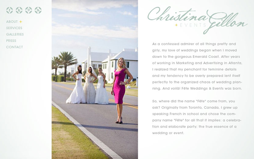 Christina Gillon Events website, interior page design.