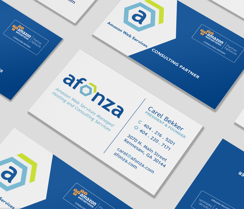 Branding for Amazon Web Services provider, Afonza. Developed by Annatto