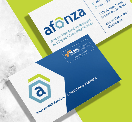 Branding for Amazon Web Services provider, Afonza. Developed by Annatto.