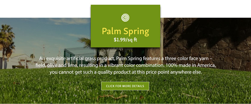 Artificial Turf eCommerce Website Design - Featured Product Listing