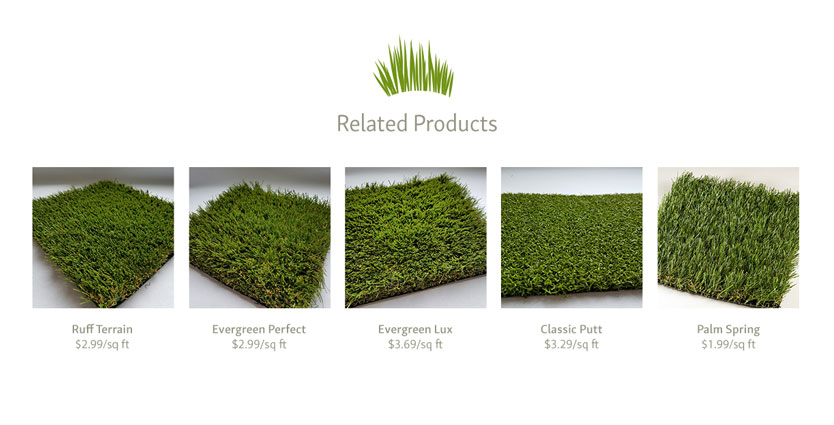 Artificial Turf eCommerce Website Design - Related Product Listing