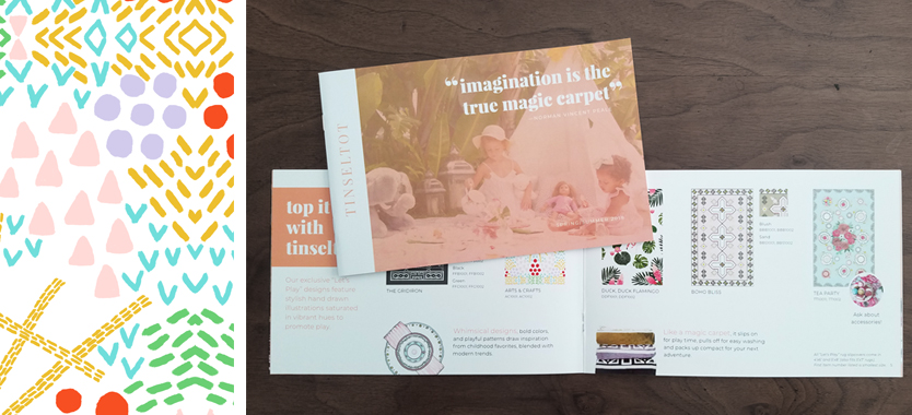 Open brochure view with blush colors and product photos