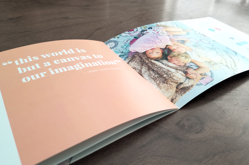 Tinseltot catalog with large quotes and lifestyle photography