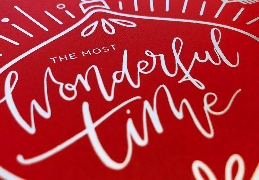 InComm Corporate Holiday Card, Hand Lettering, Silver Foil