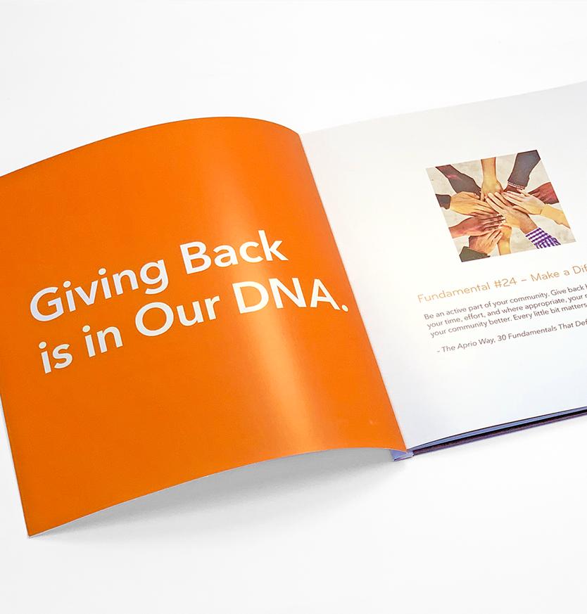 Aprio Giving Back Booklet Interior Spread