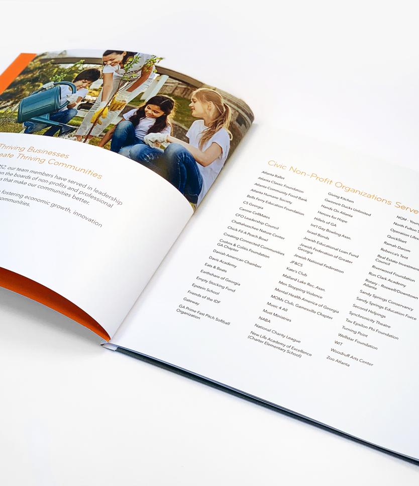 Aprio Giving Back Booklet Interior Spread - Philanthropies