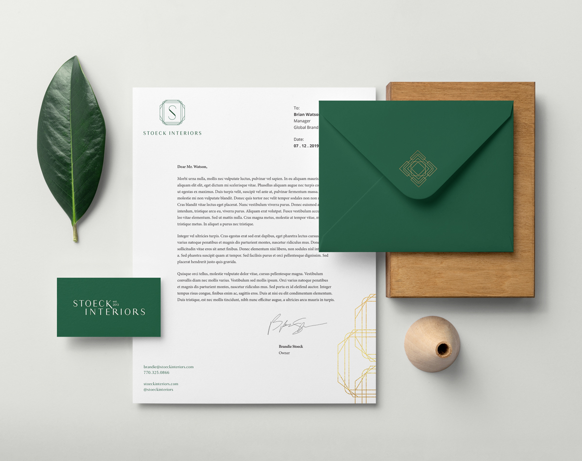 Stoeck Interiors Stationery Suite, Brand Identity by Annatto