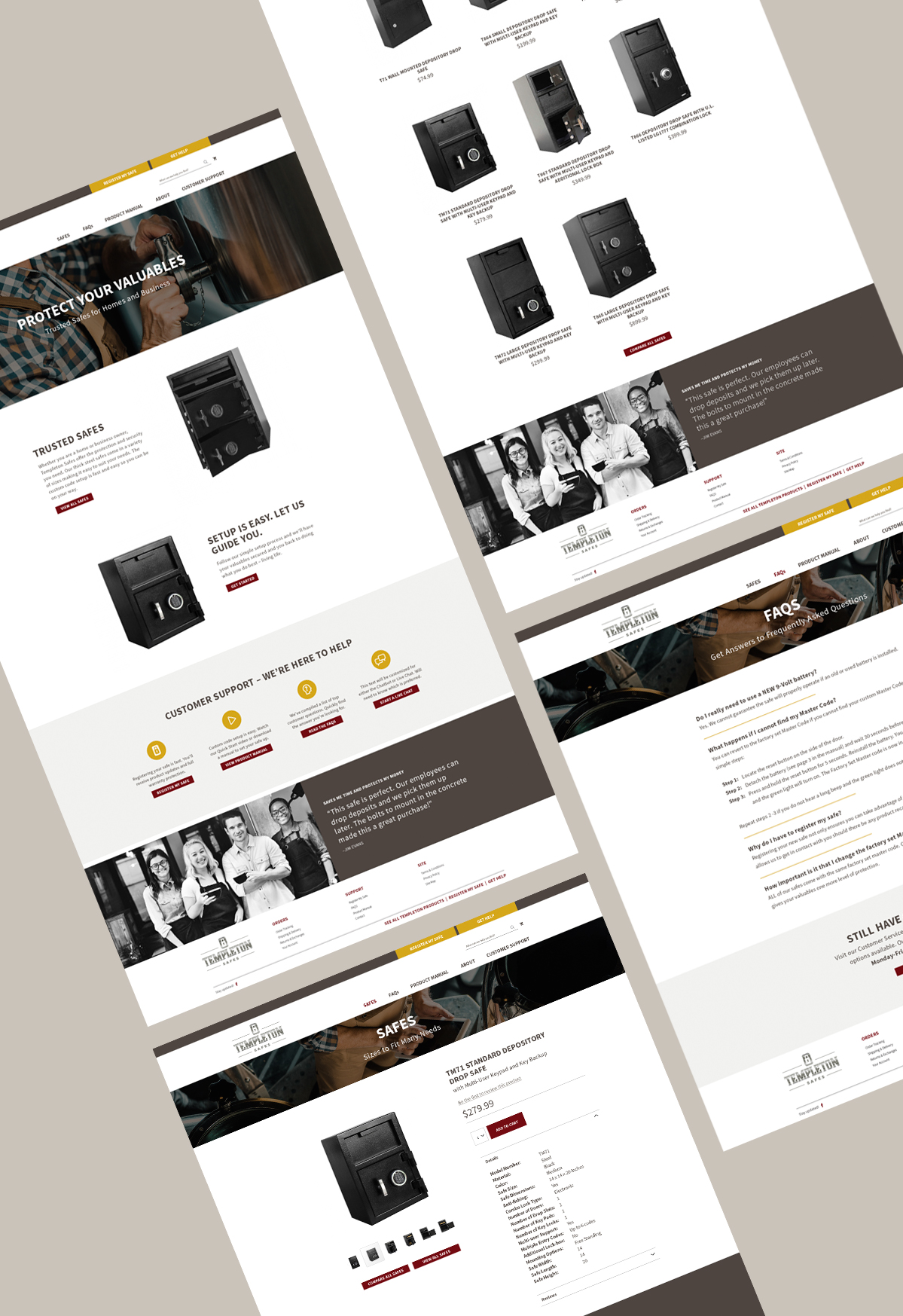 Templeton Safes - Website Design Layouts by Annatto